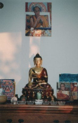 The new Buddha statue we brought back from India. (March 04)