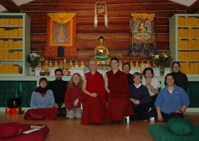 Group photo in front of the new altar in the beautiful meditation hall.