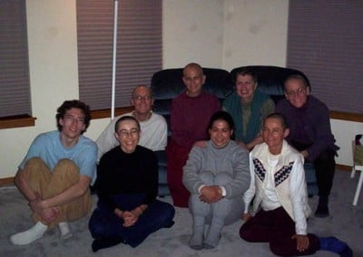 A group photo of the happy retreatants sitting on the floor, during the first Q&A session.
