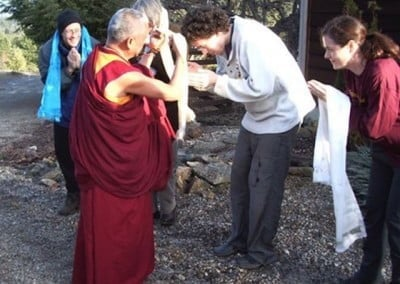Miles offers kata to Rinpoche.