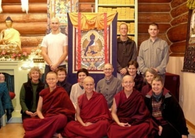 The group photo on the first night with the Medicine Buddha where Venerable sets the motivation to inspire them all.