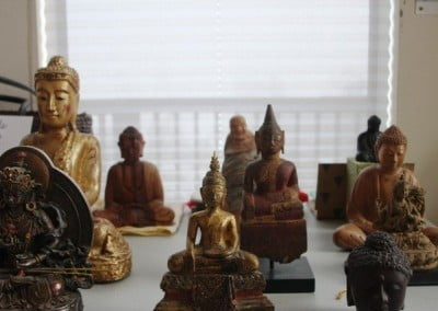 The Buddha statues waiting to be filled and consecrated.
