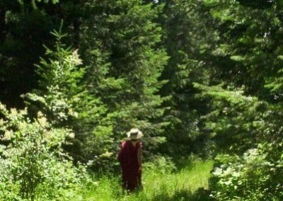 Rinpoche enjoying a walk in the woods.