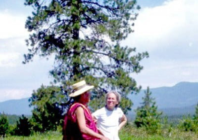 Rinpoche and Nanc view the land.