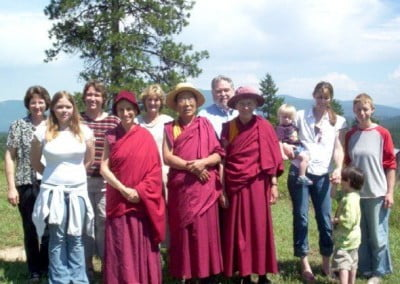 Rinpoche flanked by Ven. Chodron and Ven. Margery with other visitors from Coeur d'Alene.