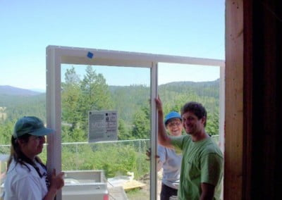 Group holding a sliding glass doere
