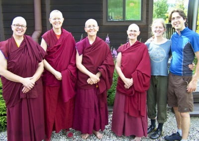 The sangha with two of our Dharma friends, Mara and Albors, who were passing through on a long distance bike trip.