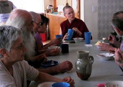 Venerable Tarpa shares ice cream floats and conversation with our guests.