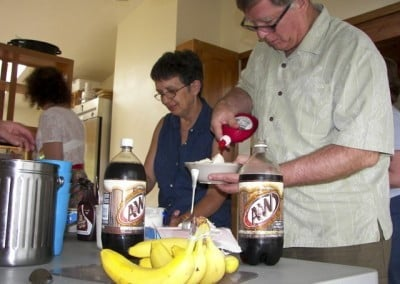 Nancy and Stan create their own banana splits. Moderation was the practice of the day for all of us!