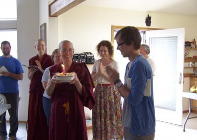 Venerable Semkye leads the group in singing Star Spangled Compassion for Skyler, one of our new Dharma friends and volunteers who celebrated his twenty-first birthday with us.