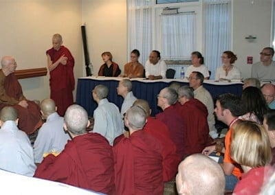 An overflowing room with almost 100 people, listening to Bhikkhu Bodhi, a great teacher.