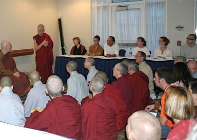 When Venerable Chodron suggested we invite Bhikkhu Bodhi to talk one evening at the hotel, word spread quickly. On the evening of the talk, almost 100 people, enthusiastic to hear this great teacher, filled the meeting room to overflowing.
