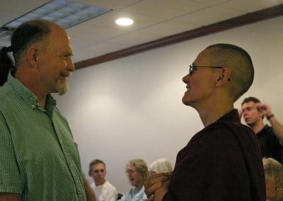 Dwight, one of the Abbey's local volunteers, shares his reflections on the teachings with Venerable Chonyi.
