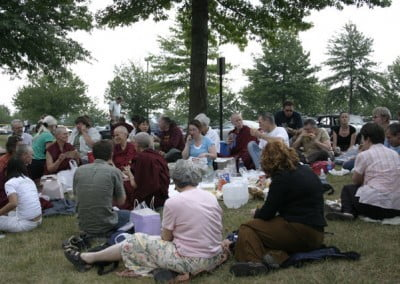 By the end of the week, dozens of people gathered with the Abbey residents to share the space and the harmonious energy that pervaded the group.