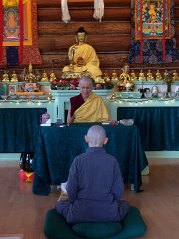 Venerable Chodron gives a teaching to Dallas on the benefits of taking the precepts and how to use this opportunity to deepen her renunciation.
