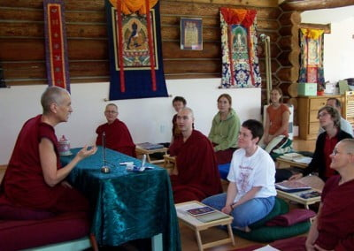The community and the young adults have the good fortune to receive teachings from Venerable Chodron every day through the week-long program.