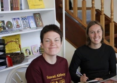 Jen and Laresa study together. Studying together always helps in understanding the Dharma.