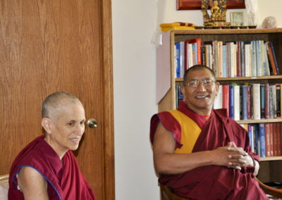 Getse Rinpoche and Venerable Chodron in the library where we offer tea and chat.