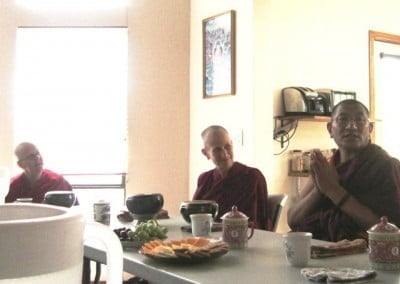 We request Rinpoche to kindly give a Dharma talk after lunch, and he shares his wisdom with us.