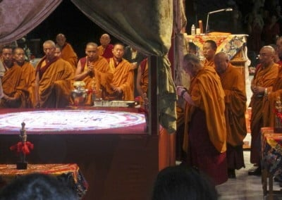 On the last day His Holiness prepares to dismantle the mandala, which is made of beautiful colored sand. The sand was poured into the Potomac River to benefit all the living beings that live in and around it.