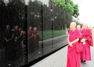 While in D.C., we visited the Vietnam War Memorial and <br> were deeply moved.