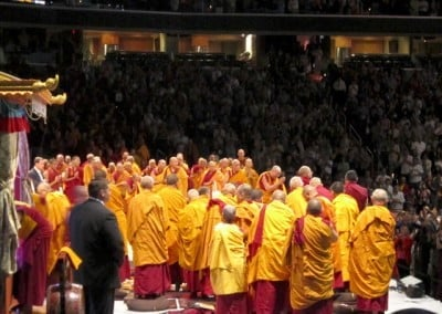 His Holiness greeted the crowd everyday before he began teaching.