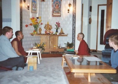 Afterwards, a tsog. Notice the new Lama Tsongkhapa statue. This was just before the new altar arrived. (One day we'll have proper puja tables!)
