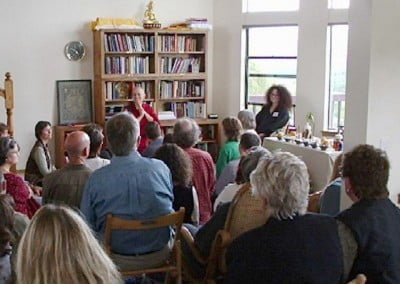 Before the puja, Ven. Chodron gives a talk about the history and vision  of the Abbey.