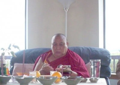 Khensur Rinpoche Geshe Wangdak offers puja to bless the Abbey.