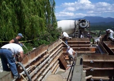 Jim Hudson's crew pours the concrete for the writing studio foundation.