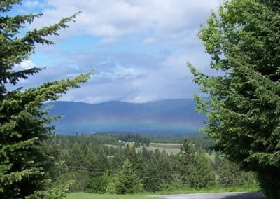 Meanwhile, outside the Meditation hall, a lovely rainbow mist is gathering over the valley...