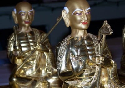 Closeup of statues of arhats