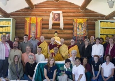 Group photo of Geshe Dadul, Abbey residents and guests