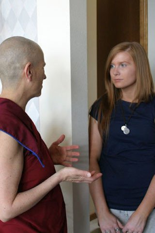 Venerable Chodron and Lauren talk together