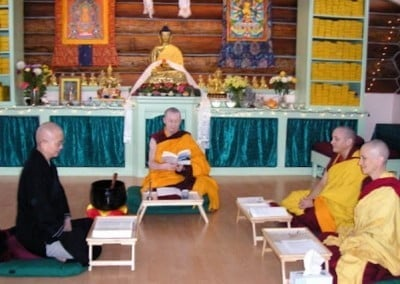 The first Posadha (sojong) at the Abbey in which the sangha confesses and  restores their precepts. Holding this essential monastic ceremony is tremendously auspicious for the Abbey and establishes it as a place for monastics.