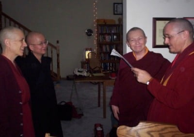 Old friends who have known each other for decades happily meet once again. (from left to right: Ven. Chodron, Ven. Heng-Ching Shih, Ven. Lekshe Tsomo, and Ven. Jampa Tsedroen).