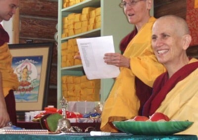 To conclude the three-month Manjushri Retreat, we invited local retreatants from afar to join us in the Lama Chopa practice. Venerable Semkye reads the names of our benefactors.