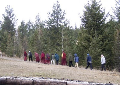 Venerable Chodron leads walking meditation through the Abbey forest, welcome relaxation for minds knotted with the questions of conventional and ultimate truths.