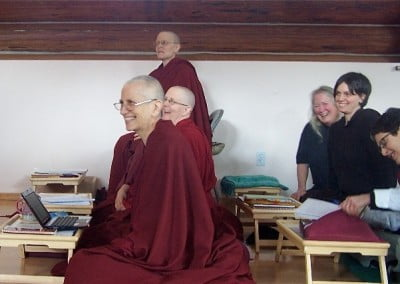 Venerable Chodron gets a rare chance to be a student during the teachings and she obviously had great fun asking questions.