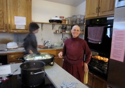Venerable Chonyi manages the Abbey kitchen with fortitude and a sense of humor.