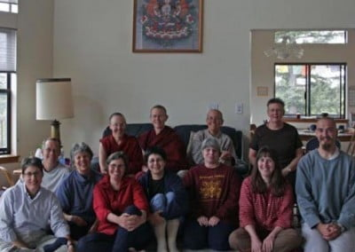The group poses after the meeting is adjourned. <br> Back row from left: Venerable Gache, Venerable Tarpa, Nanc, Dianne. <br> Front row from left: Leah, Kathleen, Barb, Tanya, Tracy, Carl. <br> (Not pictured: Deb Walker, Venerable Chodron, Susan Mitchell, and Jo & Pat Simpson)
