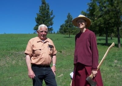 Venerable Tarpa and Steve pose for the camera. Ven. Tarpa says that everyone she speaks to from the county officials to local engineers have been very kind, helpful and encouraging.
