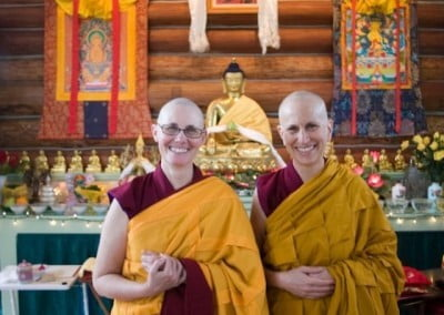 Venerable Chonyi with her teacher, Venerable Chodron after ordination ceremony.