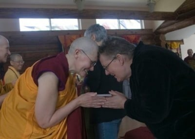 Dianne makes an offering to the new Shikshamana.