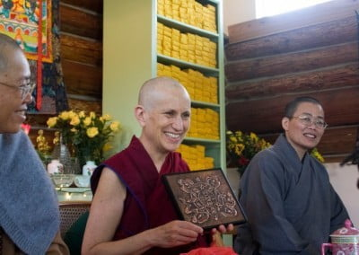 Sage from the Dharma Friendship Foundation in Seattle created and offered Venerable Chodron a beautiful copper embossing of the Abbey's logo.