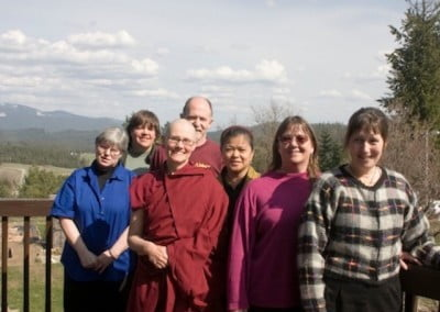Venerable Chonyi poses with a number of the Couer d'Alene Dharma Friends. They have been some of the most committed supporters of the Abbey since its inception.