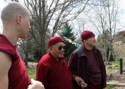 Venerable Jampel gives Geshe Sopa and his attendant, Venerable Chowang, a tour of the Abbey grounds.