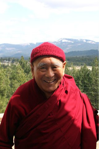 Geshe Sopa admires the view from the writing studio.