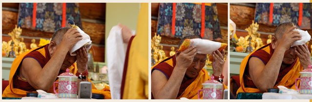 We offered a mandala prior to and at the end of the teachings. Here Geshe-la receives the Buddha's body, speech, and mind.