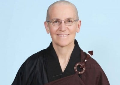 "Venerable Semkye in her ""official ""ordination picture in the Chinese robes she wore while in Taiwan."